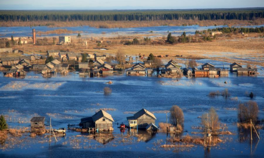 Около 50 домов подтоплены вдвух деревнях вПинежском районе, напомощь пострадавшим прибыли спасатели